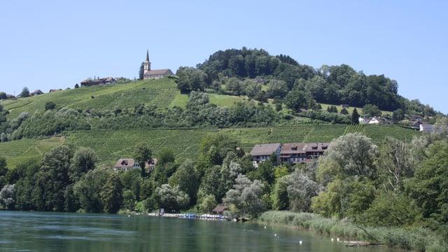 Der Rhein, am Ufer Büsche und Bäume und eine kleine Kirche auf dem Hügel.