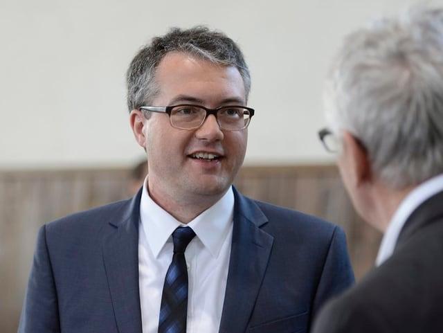 Remo Ankli im Wahlzentrum Solothurn am 3. März.
