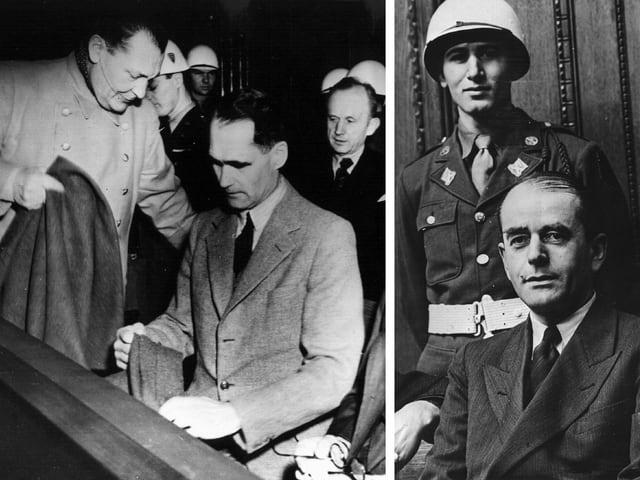 Schwarz-weiss Fotos von einigen Hauptangeklagten der Nürnberger Prozesse im Gerichtssaal