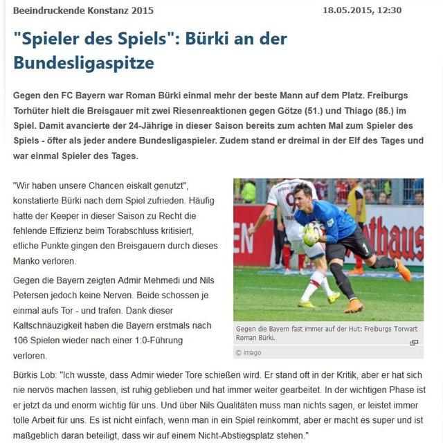 Screenshot eines Kicker-Artikels über Roman Bürki