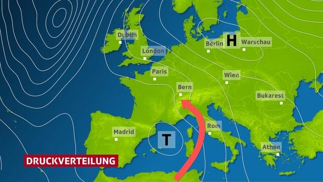 Isobarenkarte von Europa. Das Tief über dem westlichen Mittelmeet lenkt im Gegenuhrzeugersinn feuchte Lurt zur Schweiz.