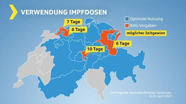 Schweizerkarte mit Kantonen und ihrer Vorgehensweise beim Impfstoff-Verbrauch