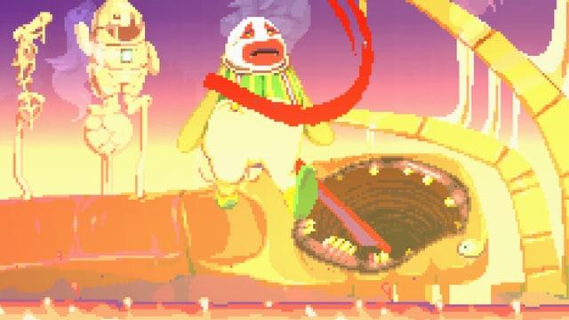 Ein Clown wird in eine Art Höllenschlund gezogen.