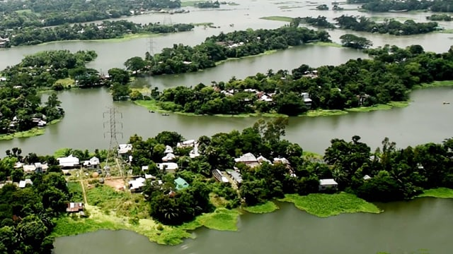 Überflutetes Gebiet in Bangladesch