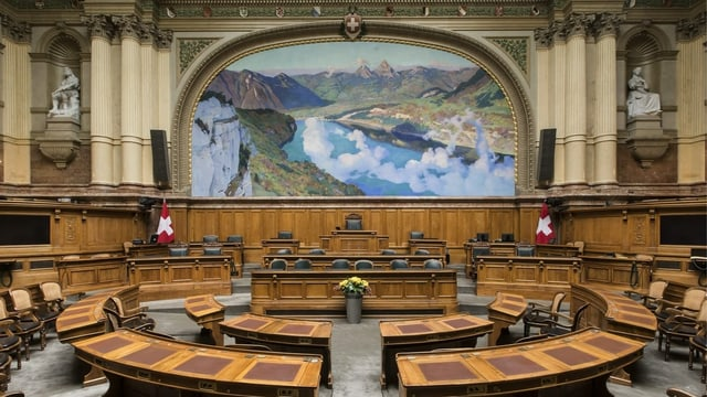 Vista en la sala dal Cussegl naziunal a Berna.