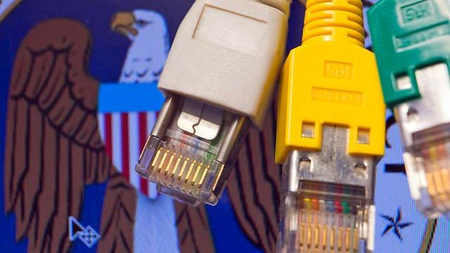 Kabel vor dem Logo der NSA.