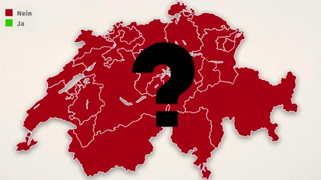 Fragezeichen auf Schweizerkarte