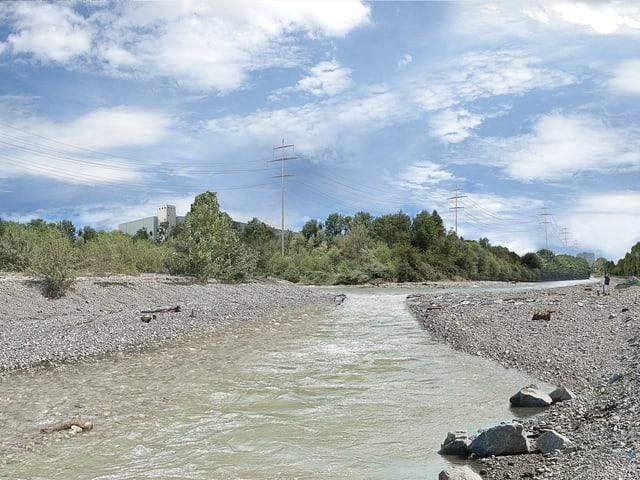 Links und rechts ist mehr Platz für den Fluss, welcher nun das Flussbett nicht mehr ausfüllt.