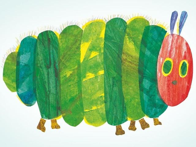Dicke Version einer grünen gezeichneten Raupe mit rotem Kopf.