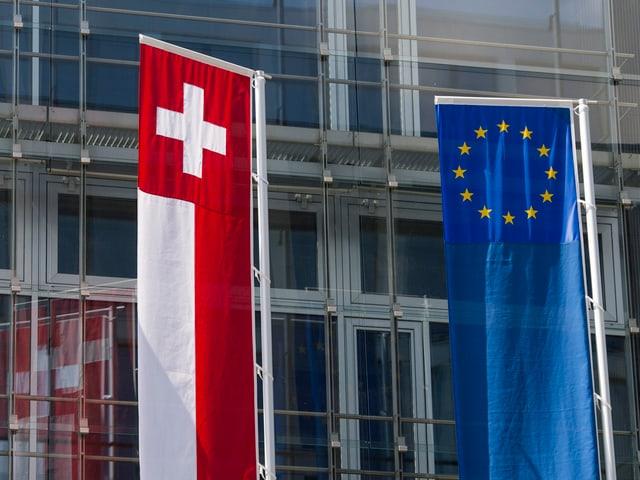 Die Schweizer und EU-Flagge nebeneinander vor einem Glasgebäude.