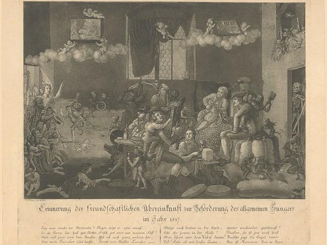 Eine Zeichung zur Hungerkrise von 1817. Sie zeigt den Hunger der armen Leute und den Protz der Reichen.