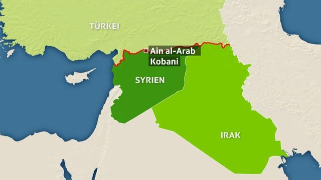 Karte der Region mit den Ländern Syrien, Türkei und Irak.