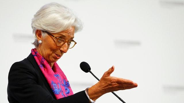 Christine Lagarde bei einer Rede.
