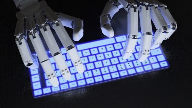 Roboter-Hände schreiben auf Tastatur