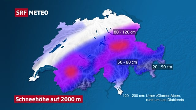 Schweizer Karte mit Schneehöhen auf 2000 m