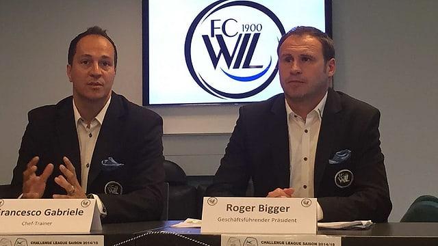 Neuer Wiltrainer Francesco Gabriele und Präsident Roger Bigger