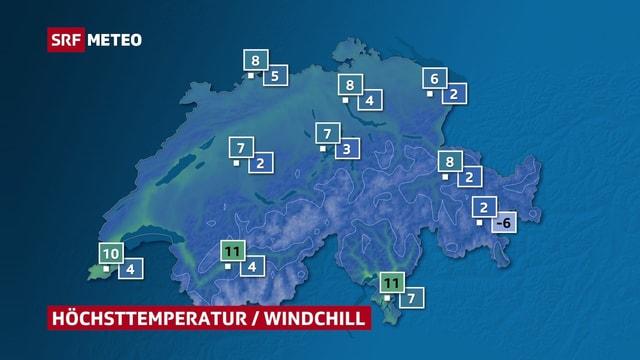 Eine Schweizkarte zeigt für verschiedene Ortschaften die Höchsttemperatur für Donnerstag sowie die gefühlte Temperatur.
