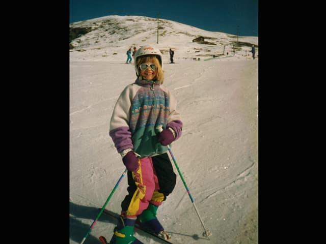 Anic Lautenschlager als Kind aus den Skiern