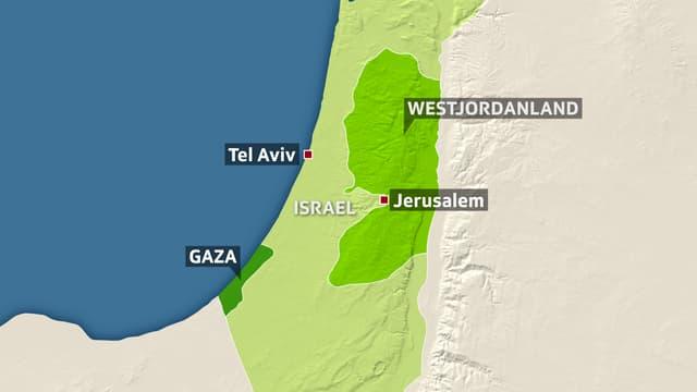 Karte: Israel und palästinensische Gebiete.