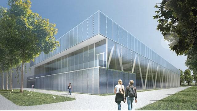 Visualisierung des neuen Schwimmzentrums mit viel Glas und Bäumen