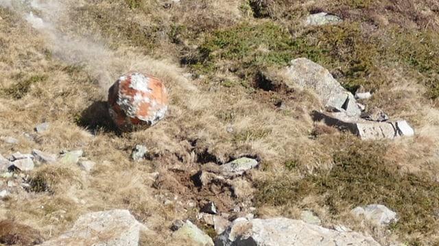 Ein künstlicher Stein rollt mit hoher Geschwindigkeit einen mit Steinen durchsetzen Grashang herunter.