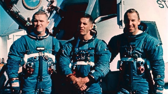 Die Apollo-8-Crew: Frank Borman (l.), James A. Lovell (m.), William A. Anders (r.).