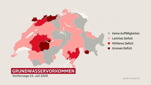 Karte Grundwasservorkommen Schweiz