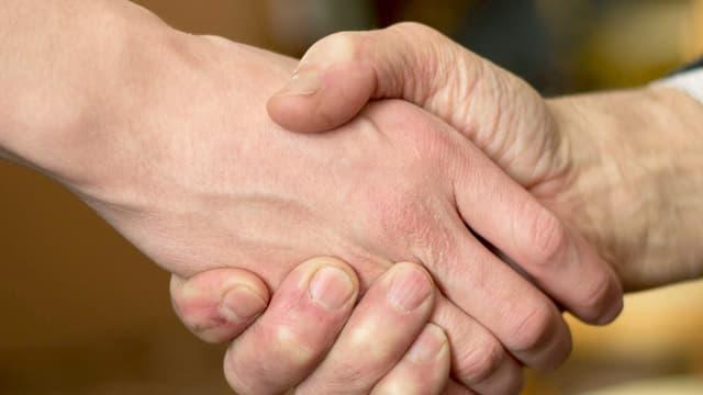 Zwei Hände, die sich zur Begrüssung drücken.