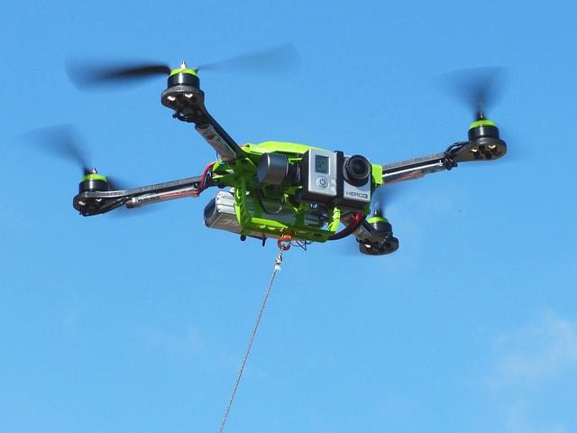 Der «Fotokite» ist in der Luft und an einer Leine.