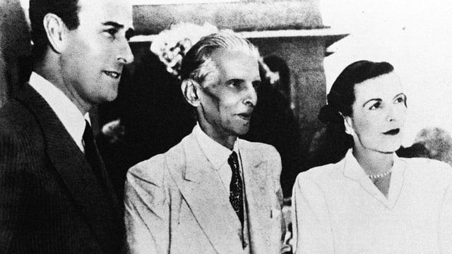 Mohammed Ali Jinnah(m.), Vorsteher der All-Indian Muslim League, zusammen mit dem Britischen Vizekönig.