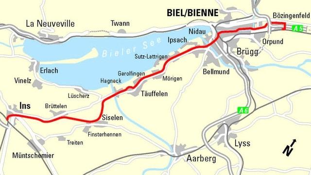 Grafik der geplanten Linienführung von Biel Bözingenfeld bis Ins.