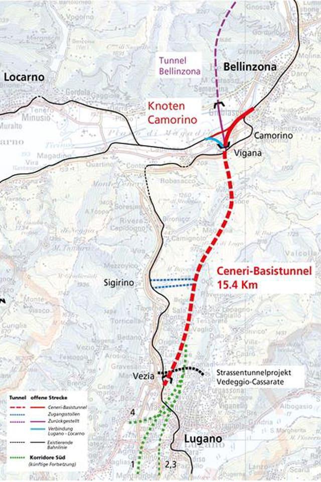 Carta cun il tunnel dal Ceneri e las lingias da tren existentas.