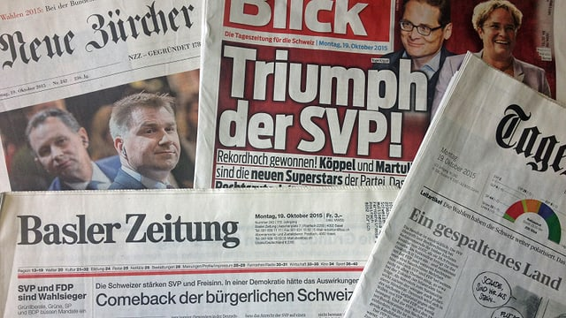 Bild der Zeitungen nach dem Wahltag.