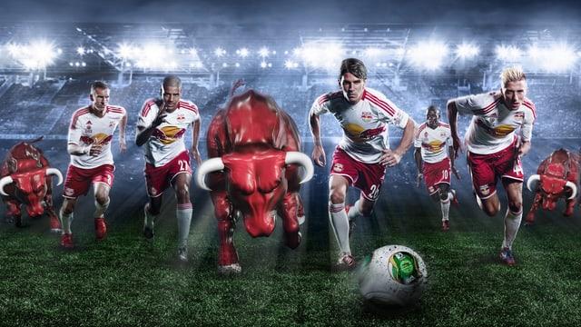 Roter Bull und Spieler stürmen dem Ball hinterher
