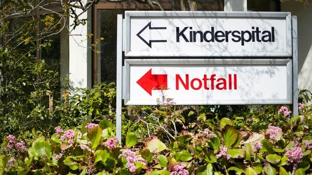 Hinweistafel zur Notfallstation vor dem Kinderspital Zürich