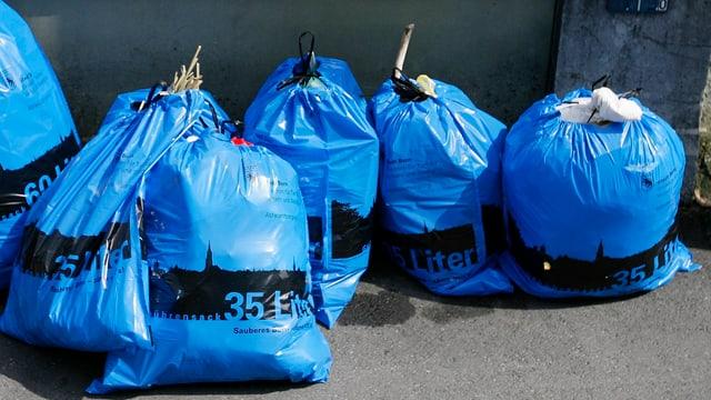 Mehrere dunkelblaue gefüllte Abfallsäcke am Strassenrand.