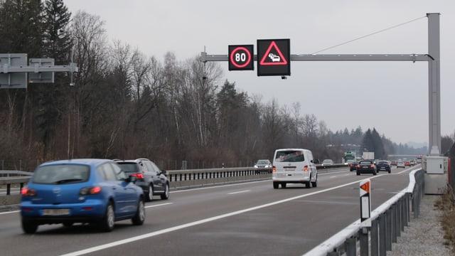 Autobahn mit Tempotafel 80 km/h