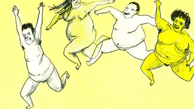 Illustration: Wir nackte Menschen, die springen