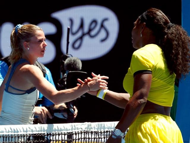 Camila Giorgi und Serena Williams.