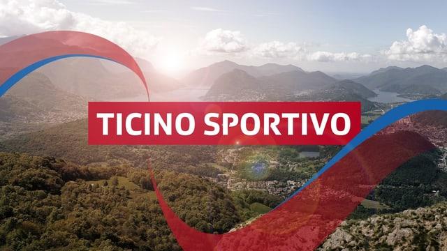 """Logo """"Ticino Sportivo"""" Schriftzug - im Hintergrund Berge Himmel und Wolken"""