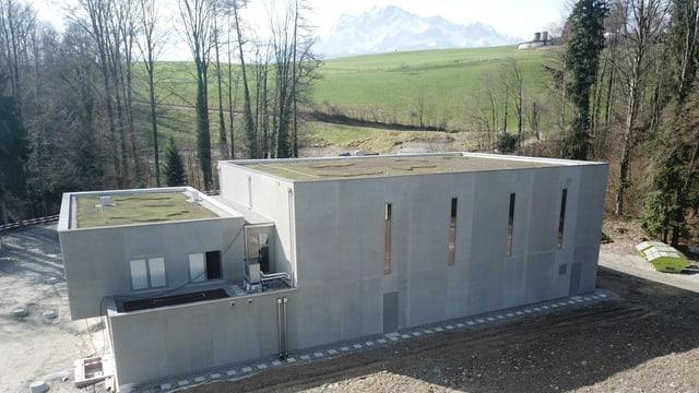 Ein moderner, schmuckloser Betonbau am Waldrand.