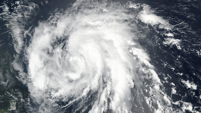 Ina fotografia dal hurican Maria ord il cosmos.