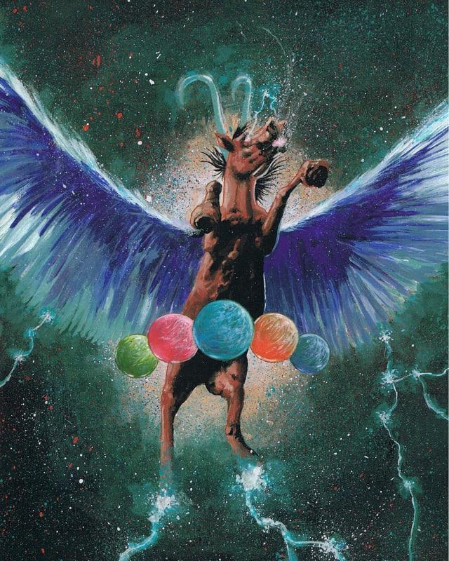 Eine Zeichnung eines Pegasus