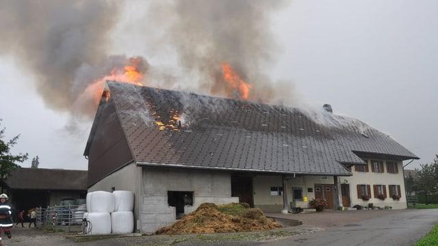 Brennendes Bauernhaus in Günsberg