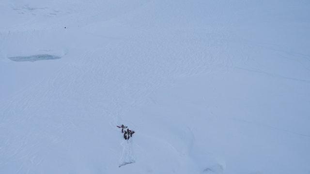 Menschen im Schnee oberhalb einer Gletscherspalte