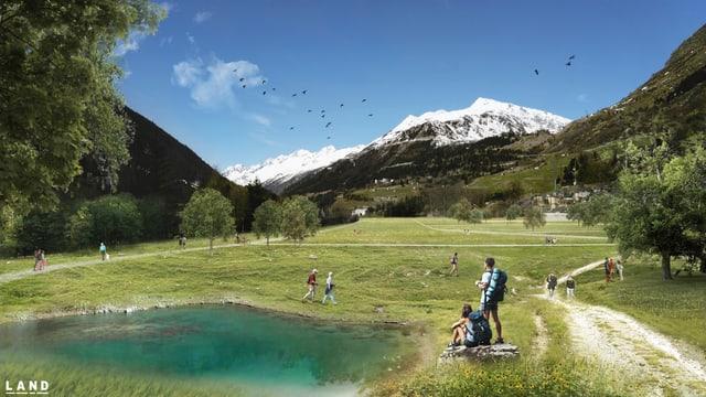 Postkarte Airolo mit grüner Wiese und Seee