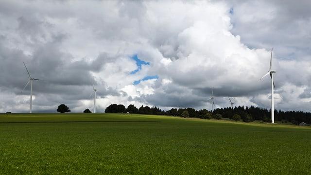 Windräder überragen Wiesen und Wälder vor einem wolkenreichen Himmel