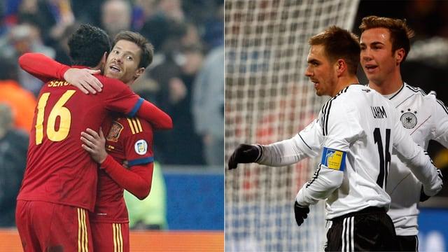In den Halbfinals sind sie Gegner, in der Nationalmannschaft Kollegen: Busquets, Alonso, Lahm und Götze (v.l.n.r.).