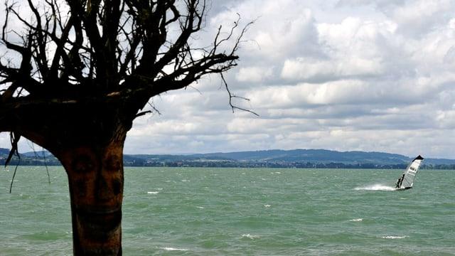 Sicht auf den vom Wind aufgepeitschten Sempachersee.