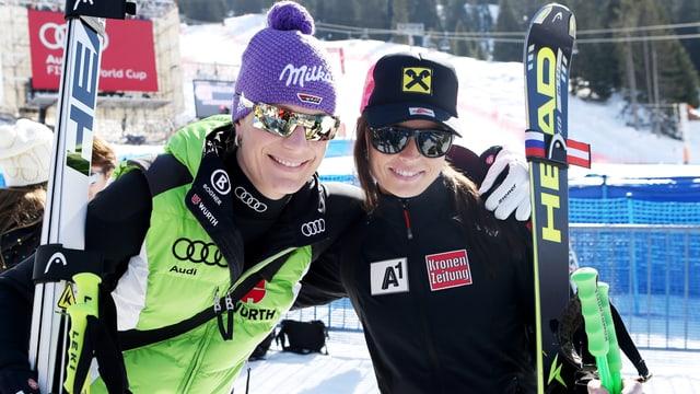 Maria Höfl-Riesch und Anna Fenninger
